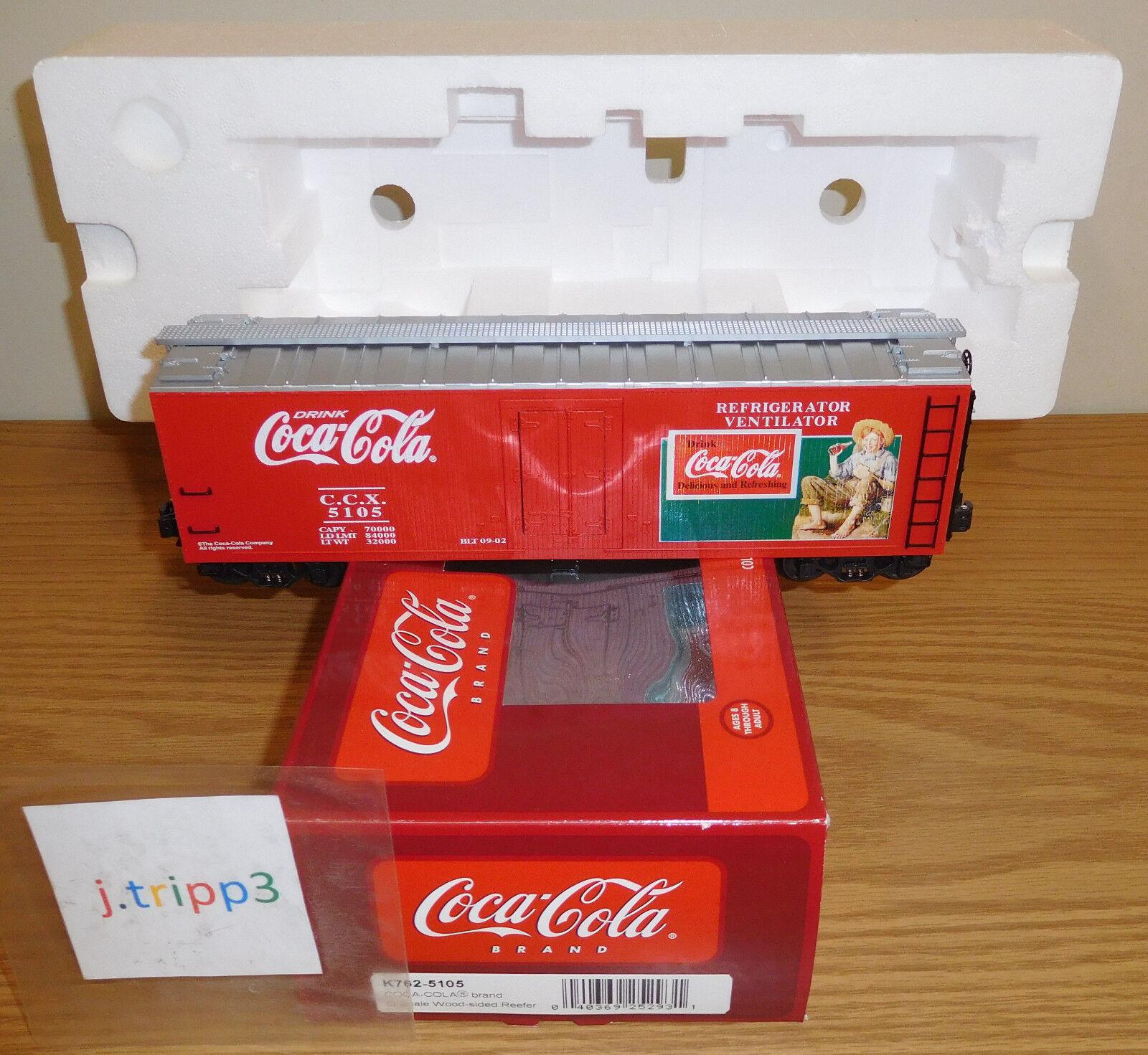 K-LINE K762-5105 COCA-COLA DRINK COKE SODA WOOD-SIDED REEFER CAR O SCALE TRAIN