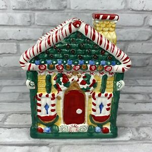 Christmas Gingerbread House Cookie Jar Canister 9 Inches Vintage