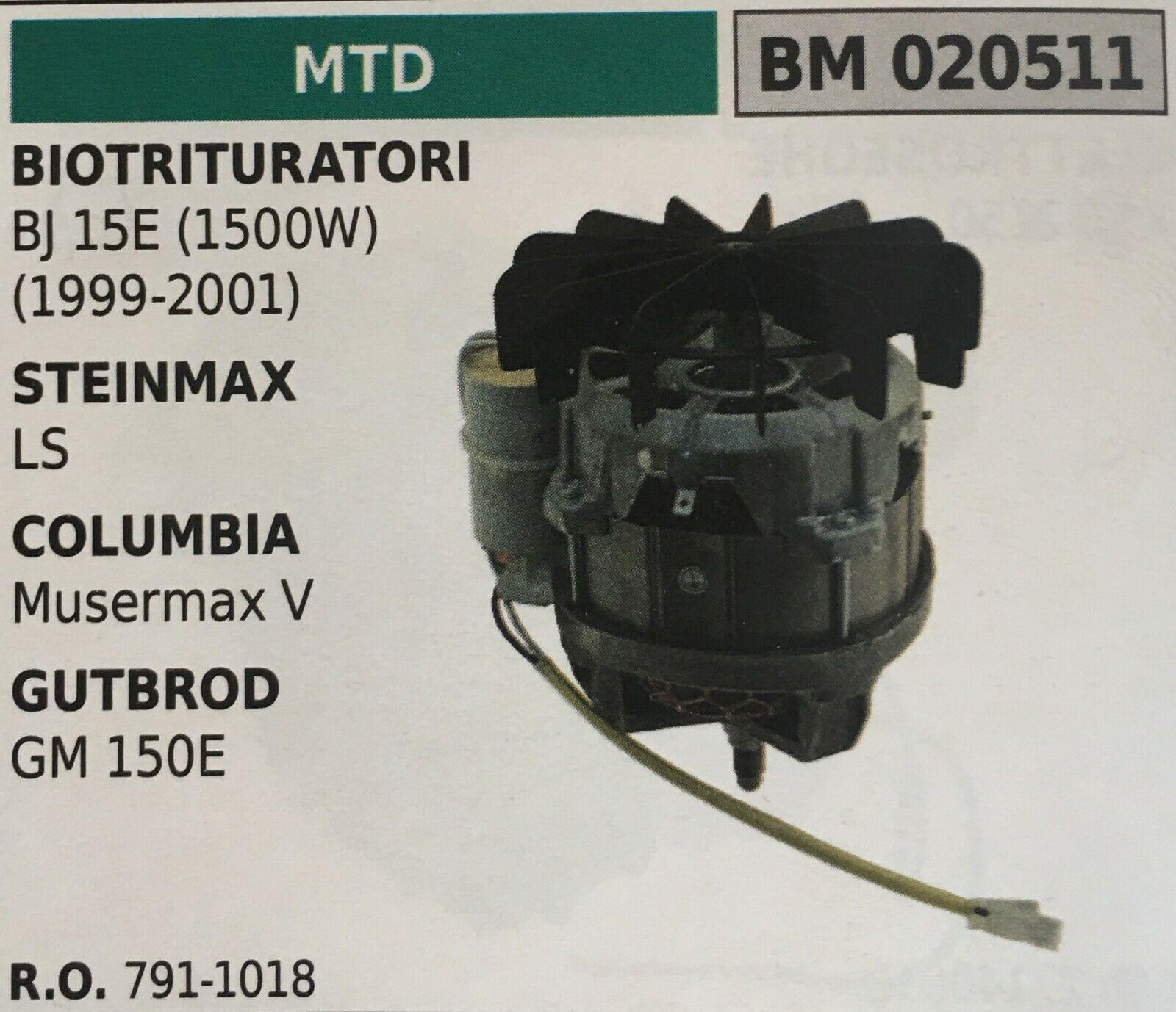 MOTORE ELETTRICO BRUMAR MTD BM020511 BIOTRITURATORI BJ 15E (1500W) e altro