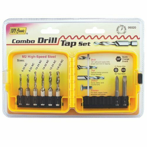 """Combo Drill Tap Bit Set Also Deburrs Countersinks 8-Pc 1//4/"""" Shank Ivy Classic"""