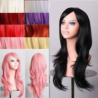 Cheap Sale Full Head Wig Long Layer Wig Cosplay Costume Party Yellow Purple Red