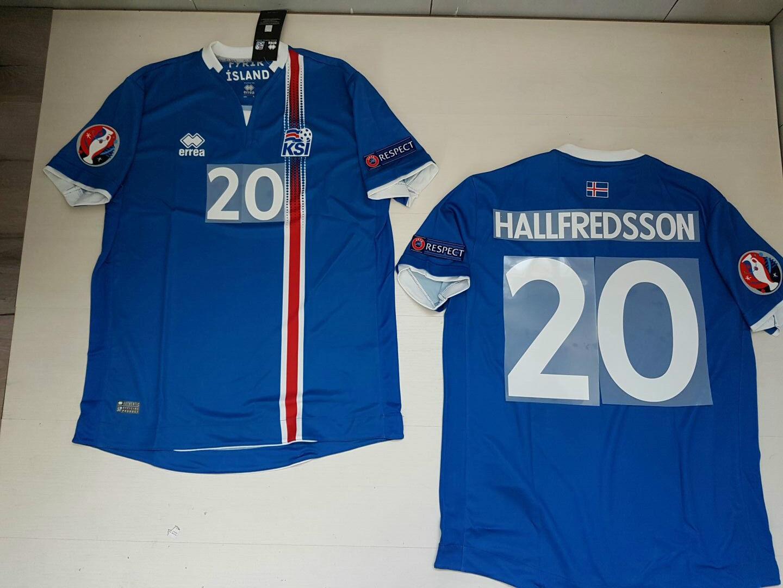 HALLFrojoSSON ISLANDA ICELAND Ísland  MAGLIETTA JERSEY SHIRT EURO 2016 PATCH