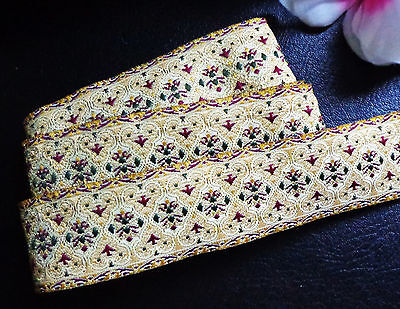 Jacquard Ribbon, 1+1/8 inch wide Ivory - Gold - Multi selling by the yard