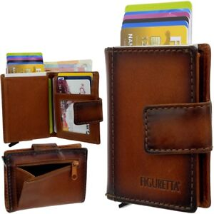FIGURETTA-Aluminium-Leder-Geldboerse-Geldbeutel-RFID-Kartenetui-Kreditkartenetui