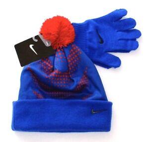 Nike Blue   Red Cuff Pom Beanie   Stretch Knit Gloves Youth Boy s 8 ... a8adace21da8