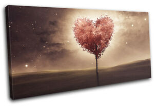 Heart Tree Bedroom Romantic Night Love SINGLE CANVAS WALL ART Picture Print