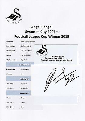 STUNNING ANGEL RANGEL SWANSEA CITY SIGNED 12x8 GLOSSY PHOTO