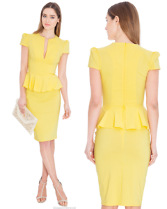 Goddess-Yellow-Wiggle-Pencil-Fitted-Peplum-Dress-Party-Wedding-Evening-Cocktail