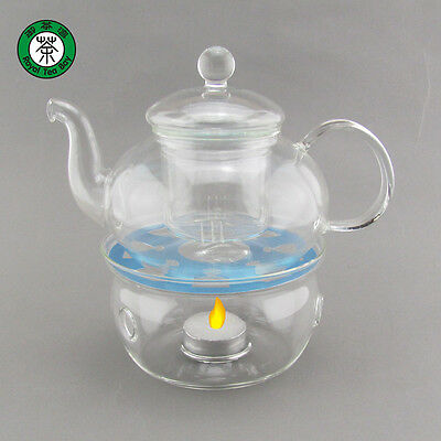 Clear Heat Resistant Glass Teapot with Strainer 600ml Tealight Warmer TP117
