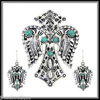 Biker Cross Western Aztec Native Indian Silver Turquoise Navajo Pendant Earring