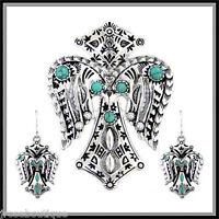 Biker Cross Western Aztec Native Indian Silver Turquoise Navajo Pendant Earring