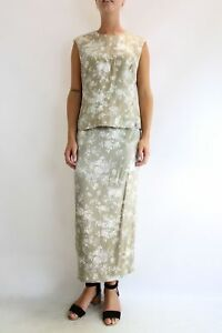 IGNAZIA-Taupe-Floral-Co-ord-Top-Skirt-amp-Jacket-Set-Size-8-Mother-of-the-Bride