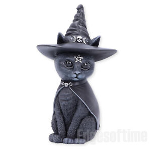 PURRAH-WITCHES-HAT-OCCULT-CAT-FIGURINE-ORNAMENT-MAGIC-SPELL-PAGAN-GOTHIC-13-5CM