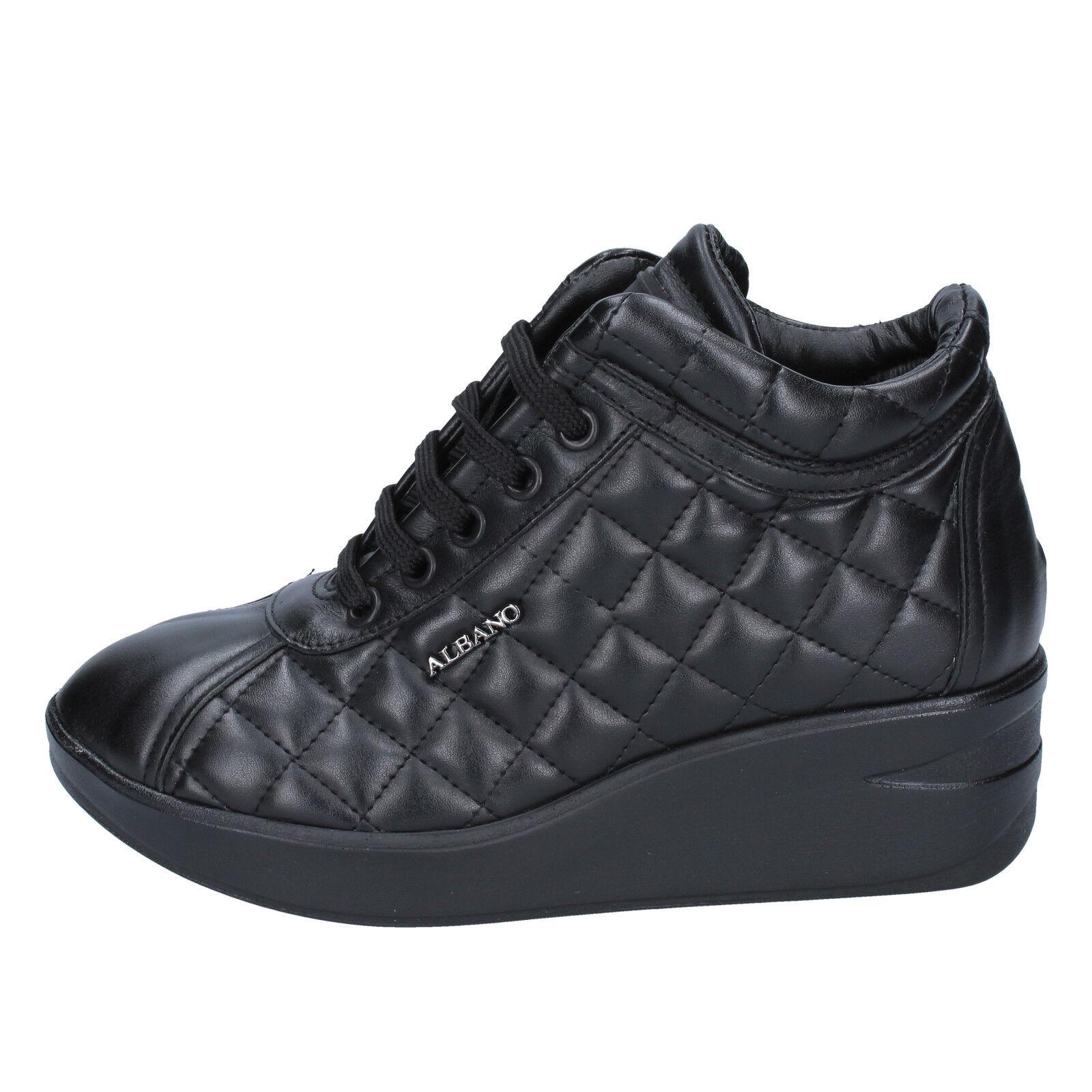 scarpe donna sneakers ALBANO 36 EU sneakers donna nero pelle BY883-36 f1de21