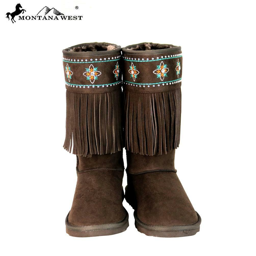 Montana West Fringe Collection Boots BST-103-Coffee