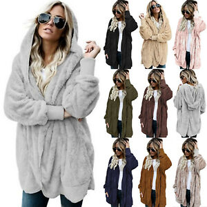 Women Fleece Fur Jacket Outerwear Winter Warm Hooded Fluffy Coat Sweater Fashion