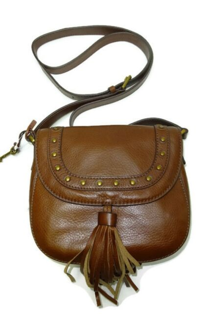 46614b49c318 Fossil EMI Studded Saddle Bag Crossbody Medium Brown ZB6850210 for ...