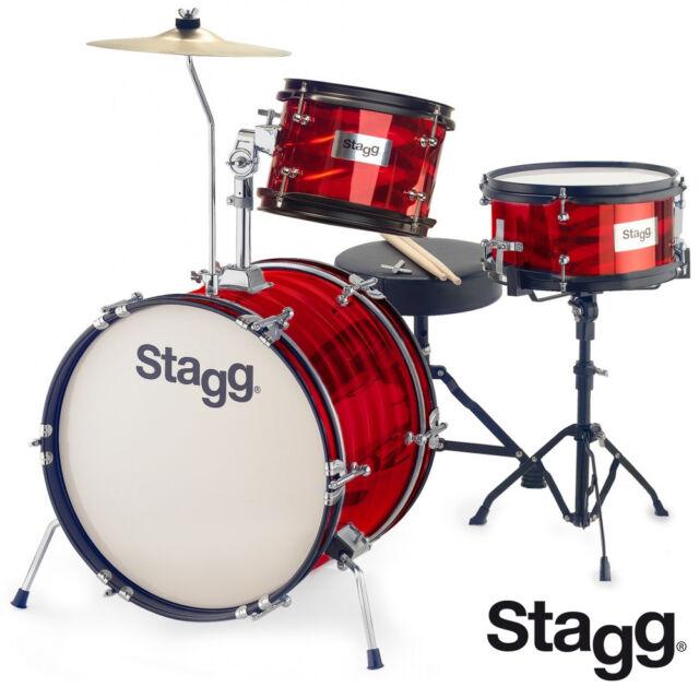 Stagg Tim 316jr 16 Retro Style Kids Drum Set Red Sticks Cymbals