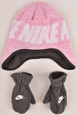 Nike Ragazze Per Bambini 2pc Set Accessori Invernale, Cappello E Guanti, Rosa E Grigio, 2-4y-mostra Il Titolo Originale