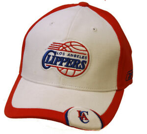 Los Angeles Clippers NBA Strap Adjustable Hat, White/Red + GT Sweat Wristband