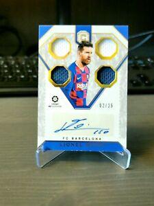 2019-20 Cornerstones Lionel Messi Quad Jersey Auto Autograph #/25 Barcelona