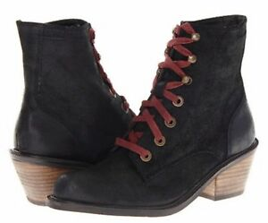 Details about DV by Dolce Vita Black Eugene Suede Booties Boots Red Laces Stacked Heel 6.5