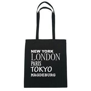 New York, London, Paris, Tokyo MAGDEBURG - Jutebeutel Tasche - Farbe: schwarz