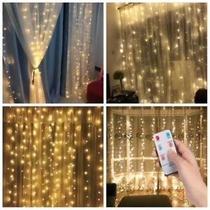 300-LED-Lichtervorhang-mit-Diamant-Deko-Lichterkette-Fernbedienung-Beleuchtung