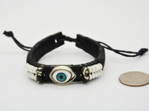 Eye Beads Leather Wristband Adjustable Men Women Boho Beach Biker Surfer