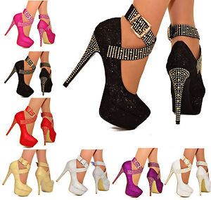 Femmes Plateforme Talons Hauts Avec Strass Clous Bride Cheville Fête Chaussures 3-10-afficher Le Titre D'origine