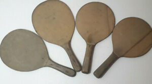 Four-Vintage-Wooden-Wiff-Waff-Ping-Pong-Table-Tennis-Two-solid-paddles-Bats