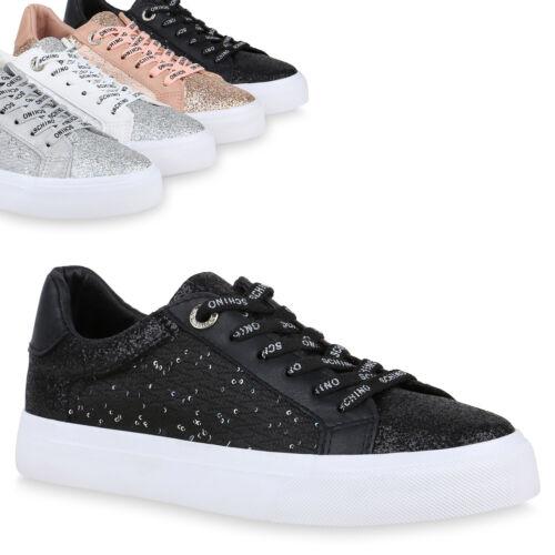 Damen Sneaker Low Glitzer Turnschuhe Pailletten Freizeit Schnürer 826272 Trendy