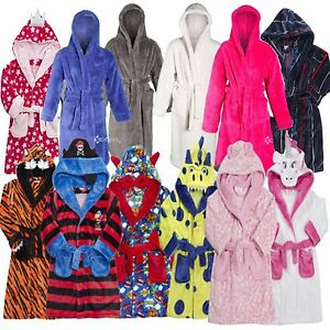 Image is loading Boys-Girls-Snuggle-Fleece-Hooded-Dressing-Gown-Robe- 9198bae2c