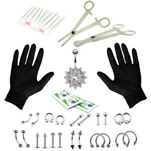 41PCS Professional Body Piercing Tool Kit Ear Nose Navel Nipple Needles Set SRDD