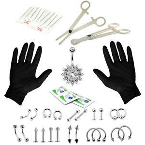 41PCS Professional kit outil piercing nez embout nombril aiguilles ensemble