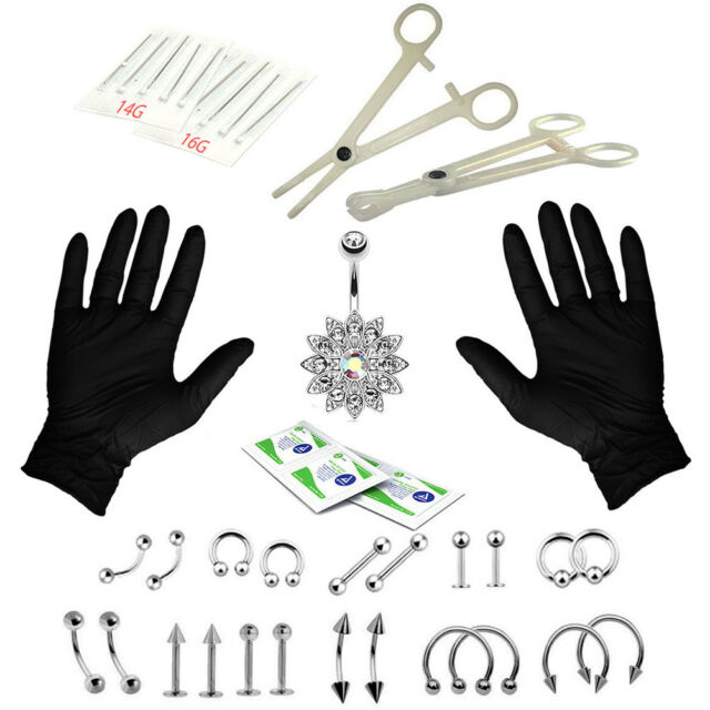 41PCS Professional Body Piercing Tool Kit Ear Nose Navel Nipple Needles Set BF