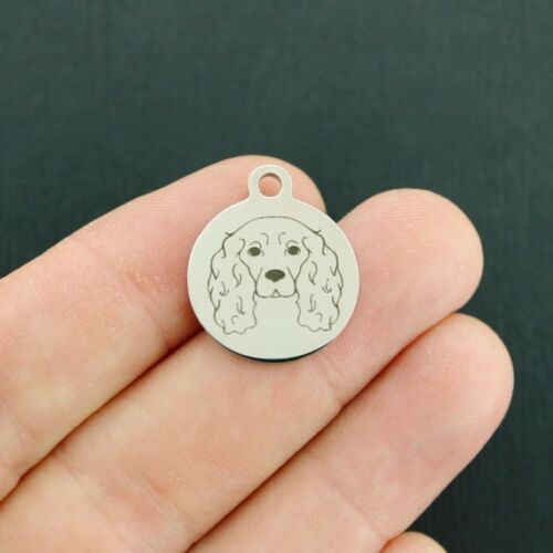 Dog Breed Cocker Spaniel Stainless Steel Charms Quantity Options BFS3853