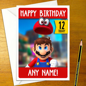 Super mario odyssey personalised birthday card a5 nintendo image is loading super mario odyssey personalised birthday card a5 nintendo bookmarktalkfo Image collections