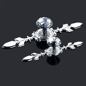Glass Diamond Crystal Dresser Knobs Drawer Furniture Pull Handle Cabinet Door JO