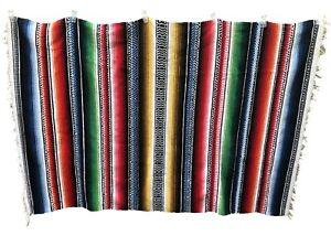 Vintage-Mexican-Serape-Blanket-Rug-Rainbow-Wonderful-3