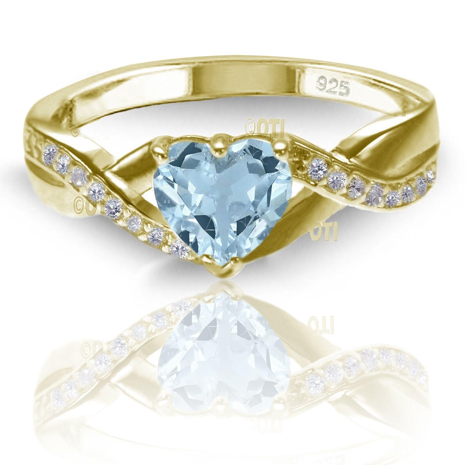 afe489aa4f509 18k Yellow gold Plated Simulated Heart Cut Aquamarine Diamond 925 ...