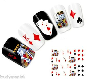 Nail-Art-Stickers-Nail-Water-Decals-Transfers-Poker-Aces-Playing-Cards-Casino