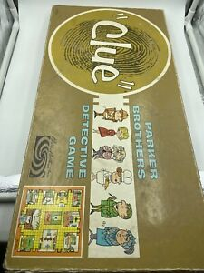 Vintage-CLUE-Detective-Board-Game-Parker-Brothers-1963-RARE-Not-Complete