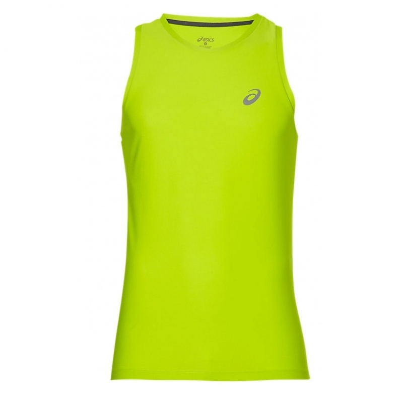 ASICS Men's Running Top Sports Essentials Logo Singlet Vest - Energy Green - New