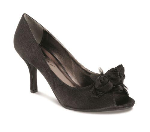 Women/'s Platform Heel Satin Rose Trim Dark Grey Black Ladies Clutch Bag Shoe Set