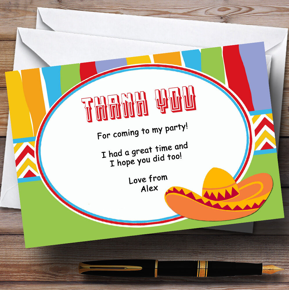 Mexican Personalised Birthday Party Thank You Cards