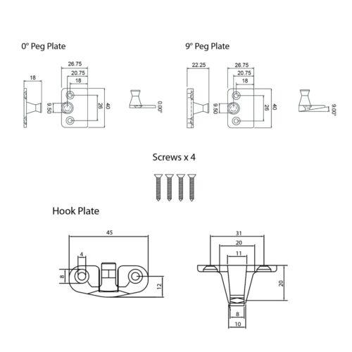 ERA WHITE WINDOW STAY Universal British Standard Timber Casement Fastener Lever