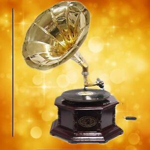 Grammophon Holz Rund In Vintage Dekoration Mahagoni Party Gag Geschenk Grammophone