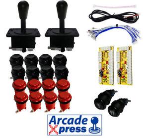 Kit-Arcade-x2-Americano-Joysticks-Negros-16-botones-2player-Interfaz-USB-Bartop