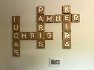 Extra large scrabble solid wood wall art tiles letters family tree